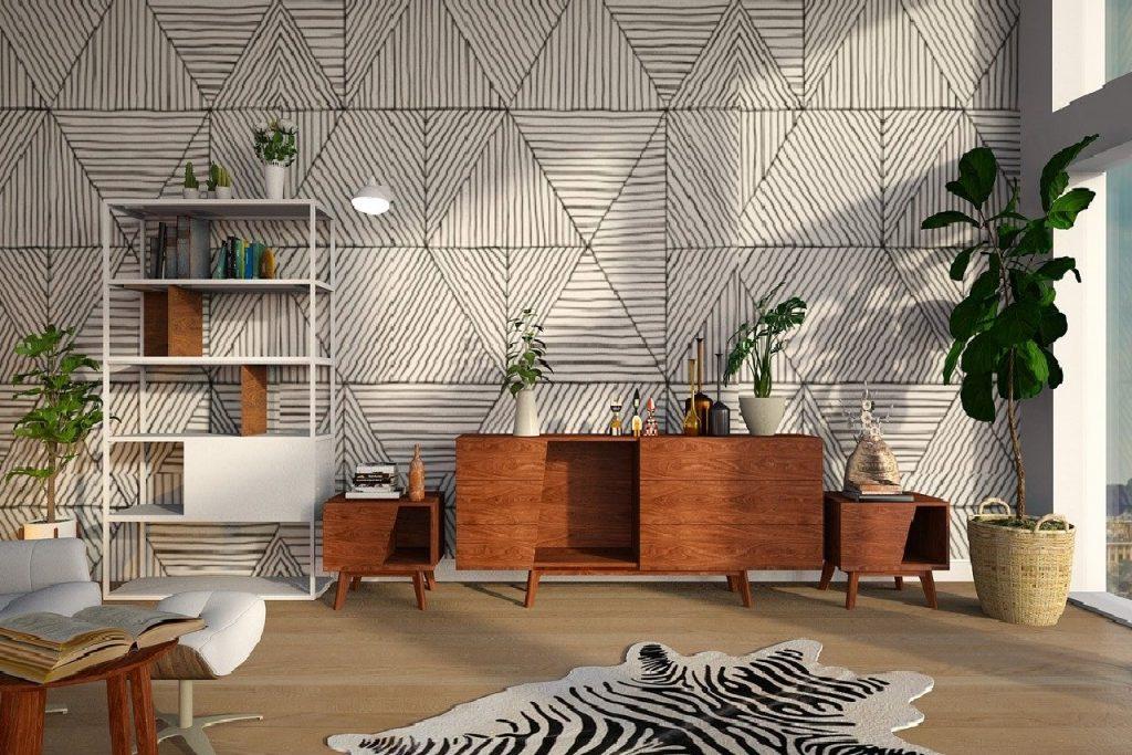 Aranżacja wnętrza z geometrycznymi kształtami